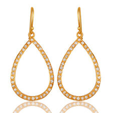 22K Gold Plated Silver White Topaz Hook Dangle Earrings Gemstone Jewelry