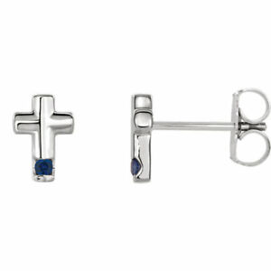 Blue Sapphire Cross Earrings In Platinum