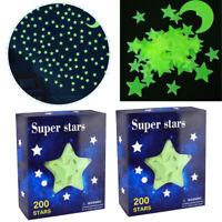 400PCS Glow in the Dark Stars Moons Glowing Stars Wall Ceiling Night Stickers