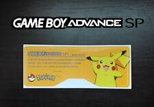 Etiquette Arrière / Back Sticker Pokémon jaune Pikachu Game Boy Advance GBA SP