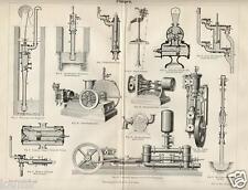 1875= POMPE = Industria Artigianato = STAMPA Antica = Old Engraving