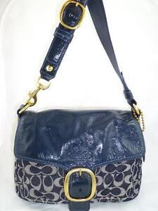 COACH 12572 BLEECKER USED SIGNATURE DENIM PATENT FLAP BUCKLE HOBO/SHOULDER BAG