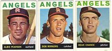 7 1964 TOPPS BASEBALL LOS ANGELES ANGELS CARDS (PEARSON/CHANCE+++) - BV $38