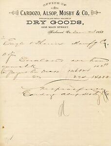 Cardozo, Alsop, Mosby & Co. Dry Goods Richmond Virginia 1883 Letterhead
