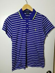 1 NWT RALPH LAUREN GOLF WOMEN'S POLO, SIZE: LARGE, COLOR:BLUE/WHITE/YELLOW(J173)
