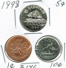 1998 Canadian Brilliant Uncirculated Three Coin 1, 5  and 10 Cent Type Set!