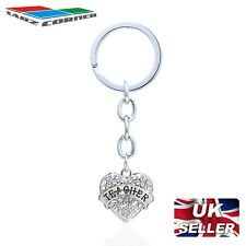 SCHOOL TEACHER GIFT SILVER WHITE CRYSTALS LOVE HEART PENDANT KEYRING KEYCHAIN