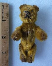 "Antique 3"" Miniature Schuco Compact Mirror Lipstick Jointed Teddy Bear - Germany"