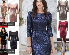 NEW WOMENS LADIES GLAMOROUS SEXY V ZIP BACK BLINGY 3/4 SLEEVE SEQUIN PARTY DRESS