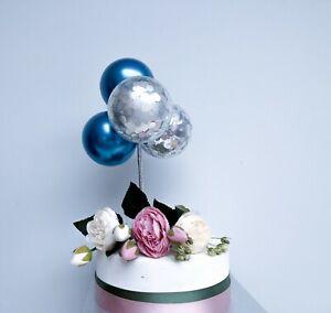 Mini Confetti Balloon Cake Topper Arch Garland Birthday Decor Blue Chrome Silver