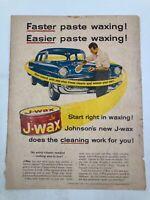Vintage Car Wax Auto Polish Paste Johnson's J-Wax Cleaner Collectible Print Ad