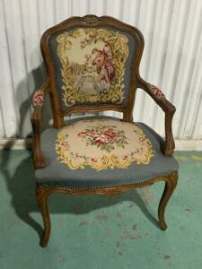 H37007 Vintage French Style Tapestry Floral Armchair Chair Carved Timber