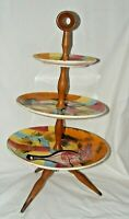 VINTAGE MID CENTURY MODERN TAZZA CAKE STAND FOOTED ITALIAN? WOODEN FRAME
