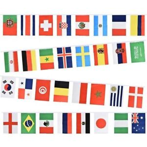 FIFA FOOTBALL 20 COUNTRY FLAG FABRIC BUNTING BANNER WORLD CUP RASSIA 2018