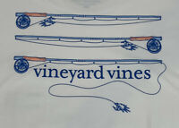 Vineyard Vines Mens Fly Fishing Rods L/S Pocket T-Shirt Sz L White-NEW