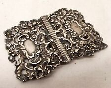Antique Sterling Silver Nurse Belt Buckle Very Ornate Victorian Floral Flower