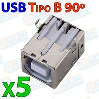 Conector USB Tipo B Hembra 90 grados 2.0 para soldar en PCB - Lote 5 unidades -