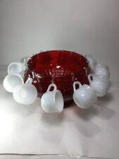 NOS Vintage Jeannette Red Glass Punch Bowl & 12 Milk Glass Cups Fruit Design