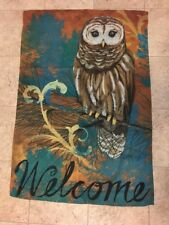 "Welcome Autumn Owl House Flag  28"" x 40""  Fall"
