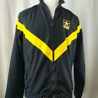 Vintage US Army Full Zip Black Yellow Mesh Lined Windbreaker Jacket Medium Long