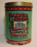 Large Vtg 1979 Maxwell House GRAPHIC COFFEE TIN 2 POUND CHEEK NEAL HOUSTON TEXAS