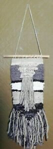 7SheepArt Unique Woven Handspun Wool Textile Wall Hanging, Grey, White & Black