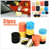 31 Pcs Auto Car Body Sponge Polishing Pad+Woolen Buffing Pads+Drill Adapter Kit
