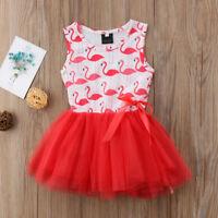 NWT Girls Flamingo Pink Striped Sleevless Tutu Dress 2T 3T 4T 5T