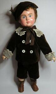 """Antique 22"""" Tall All Wooden Tout en Bois Toddler Boy Doll"""