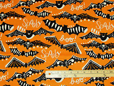 Spooktacular Gone Spooky Orange BATS Halloween Fabric by the 1/2 Yard  #107.08.2