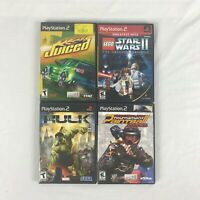 Lot of 4 PlayStation 2 PS2 games Hulk Paintball Juiced Star Wars II CIB tested