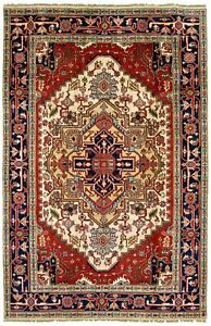 Black Rust /'Hatodar/' Hand Knotted Carpet Handmade Wool Medallion Area Rug 3x5