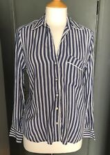 NEW GAP PYJAMA STYLE Long Sleeve BLUE AND WHITE STRIPE Crepe Shirt SMALL £39.95