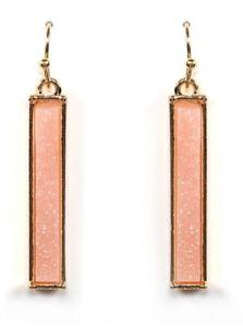 Drusy Bar Earrings Light Pink Colored Druzy Dangle Pierced Wire Earrings
