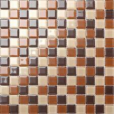 1 SQUARE METER Beige & Brown Glass Mosaic Wall Tiles Bathroom Shower Toilet 0082