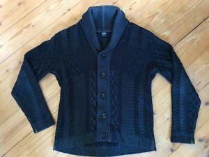 Hugo BOSS Black Strickjacke Cardigan Pullover M 46 48 dunkelblau schwarz