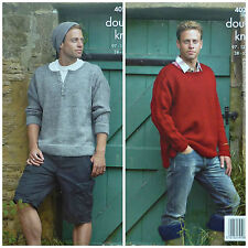KNITTING PATTERN Mens Long Cable Sleeve Jumper Hat & Boot Toppers 4020