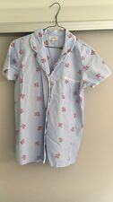 Sussan floral blue and white stripe pyjama blouse size xs