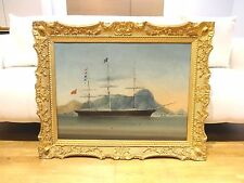 Fine Large 19th Century The Gresham Hong Kong Harbour Ship Marine Oil Painting
