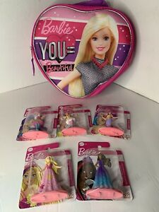 Barbie Bag With 5 Figurines No Strap Zippered Purple/Pink