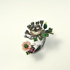 GIARDINETTO Garden Floral Ring Sapphire Tourmaline Enamel Sterling Silver 925