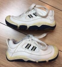 """Sz 4.5 STRIDE RITE """"Scooter"""" Boys White & Navy Laces Sneakers EUC Shoes"""