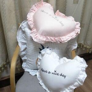 Cotton Throw Pillow Cushion Heart Shape Ruffle Soft Sofa Chair Bed Home Cute New