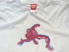 MARVEL COLLECTION SPIDERMAN WHITE T SHIRT 100% COTTON RED GRAPHIC LARGE BE3A718