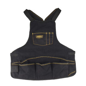 Black Oxford Cloth Tool Apron Adjustable Strap for Woodworking, Electricians