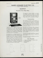 Very Rare Orig 1933 Ward Leonard Dealer Sheet Page: Pneumatic Time Delay Relay
