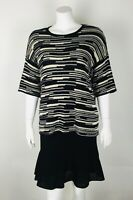 Eileen Fisher Oversized Top NWT $198 Organic Linen/Cotton XS Black/Natural