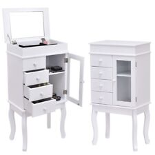 Wooden Standing Mirrored Jewelry Armoire Storage Cabinet with Mirror White US