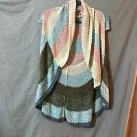 CAbi Womens Multicolor Sleeveless Shawl Collar Cardigan Sweater Size XS