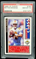 1998 Upper Deck Choice Colts HOF Star PEYTON MANNING Rookie Card PSA 10 GEM MINT